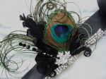 "Peacock Feather Bridal Wrist Corsage Bracelet Cuff in Black Green + Crystals ""Cally"" - 1920's Wedding"